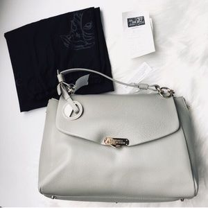bec3c0bfcf Versace Collection Pebbled Leather Large Satchel